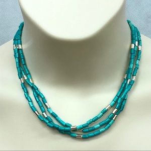 Faux turquoise and silver tone beaded necklace